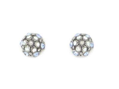 Silver Light Blue Crystal Stud/Post Earrings