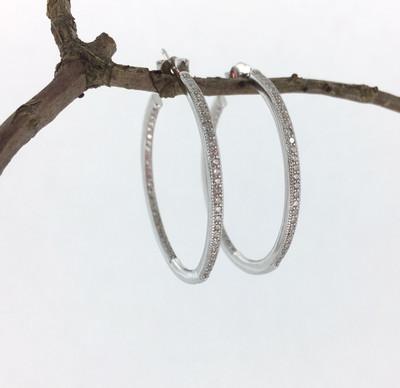 CZ Hoop Post Earrings
