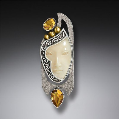 Fossilized Walrus Ivory Enigma Pendant/Pin with Citrine