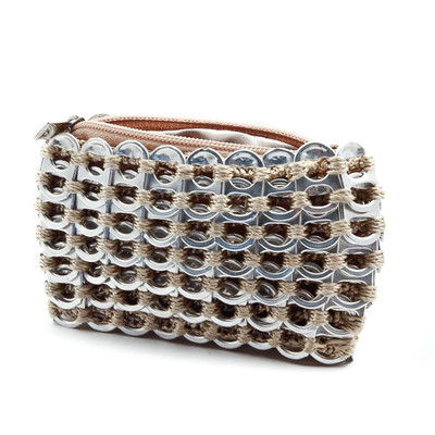 rectangular soda tab purse for coins in champagne