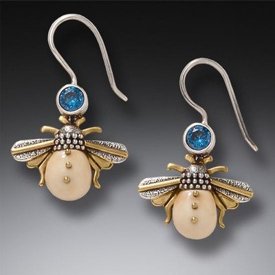 14KT Gold Fill Blue Topaz Fossilized Walrus Ivory Bee Earrings