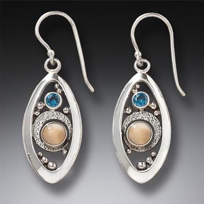 c01656c73 Blue Topaz Fossilized Walrus Ivory Microcosm Earrings