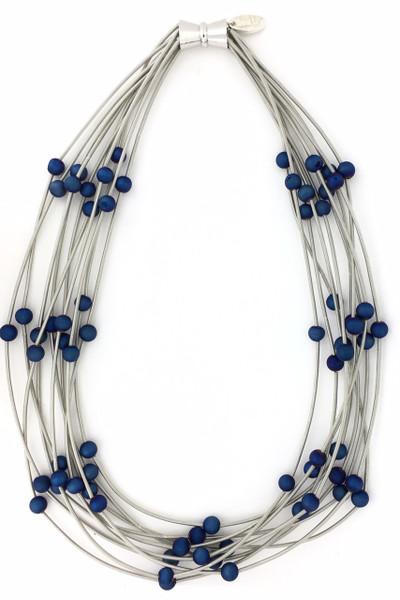 Silver Multi Strand Blue Geode Piano Wire Necklace