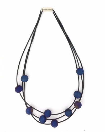 Three Strand Geode Piano Wire Necklace, Black