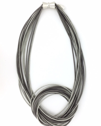 Piano Wire Large  Knot Necklace, Silver/Slate