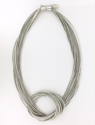 Piano Wire Large Know Necklace, Light Silver Tones