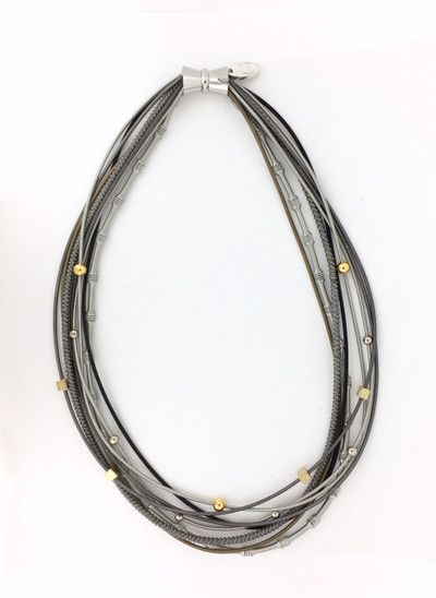 Piano Wire Textured Short Necklace, Multi