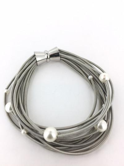 Piano Wire Multi Pearl Bracelet, Silver