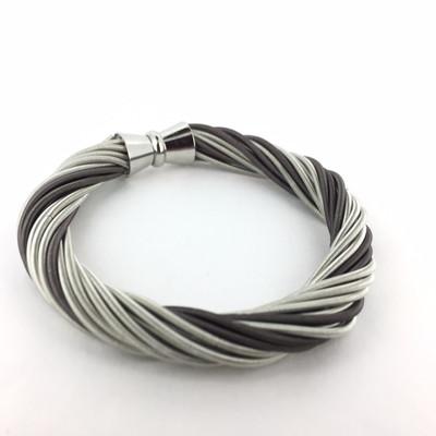 Piano Wire Multi Strand Twist Bracelet, Silver/Slate