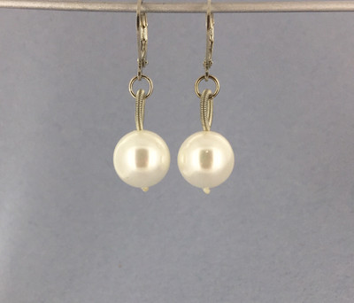 Piano Wire White Pearl Drop Earring, Silver