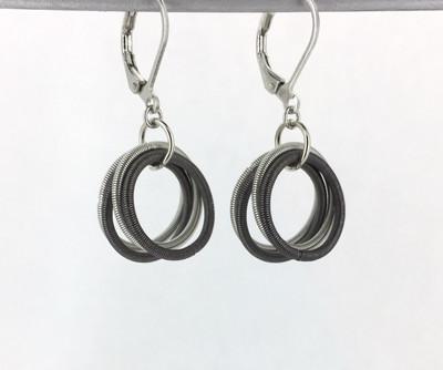 Piano Wire Loop Earrings, Slate/Silver