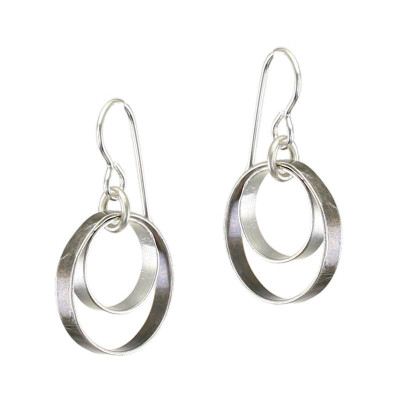Two-tone Antique Silver Double Circle Earrings