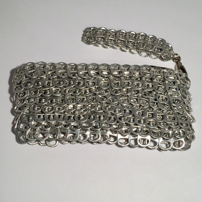 Layered Soda Tab Clutch Bag w/ Handle, Silver