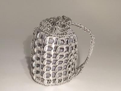 Soda Tab Mini Drawstring Pouch,  Silver