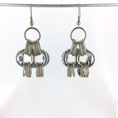 Soda Tab Horizontal Earrings, Silver