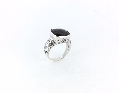 Bali Filigree Smoky Quartz Square Ring - Size 8 Only