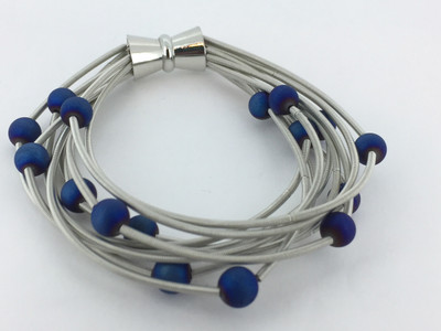 Piano Wire Bracelet, Silver with Blue Geode Beads