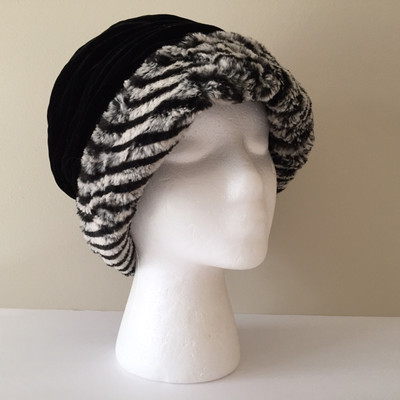Faux Fur Zebra Stripes Hat, Medium