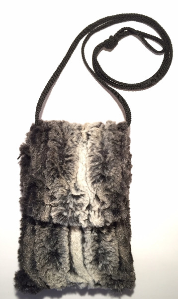 Faux Fur Chinchilla Phone Case Crossbody Bag , Black