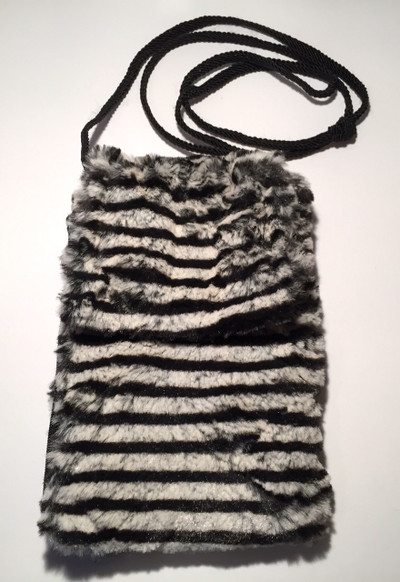 Faux Fur Zebra Stripes Phone Case Crossbody Bag