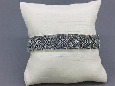 Blue Topaz/Marcasite Wide Band Bracelet