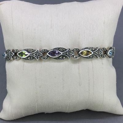 Marquis Shaped Multi-Stone Marcasite Bracelet