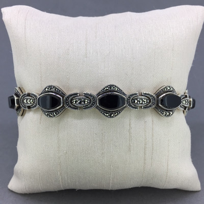 Oval Onyx Marcasite Bracelet