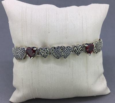 Garnet Floating Hearts Marcasite Bracelet