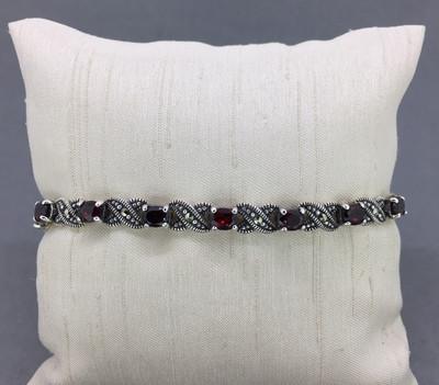 Marcasite Hugs & Kisses Garnet Bracelet