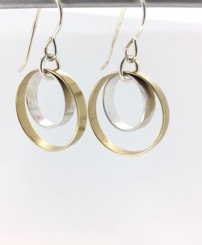 Two-Tone Circle Inside Circle Fish Hook Earrings