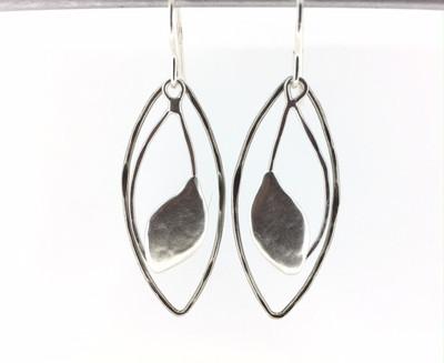 Two Tone Antique Silver Fish Hook Earrings