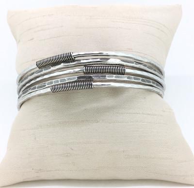 Antique Silver 5-Strand Bangle Set Bracelet