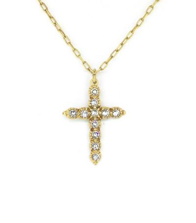 Gold Clear Swarovski Crystal Cross Necklace