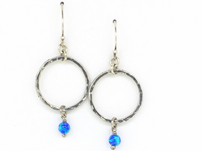 Open Circle Blue Opal Fish Hook Earring