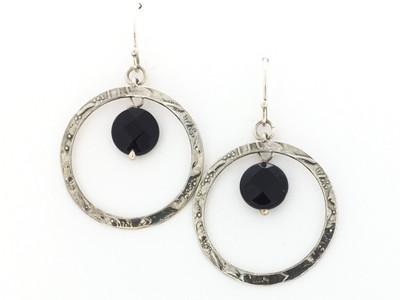 Textured Open Circle Onyx Fish Hook Earrings