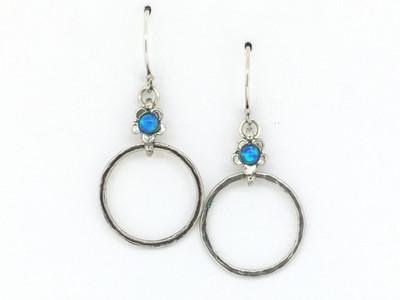 Blue Opal Delicate Flower w/Hammered Circle Fish Hook Earrings
