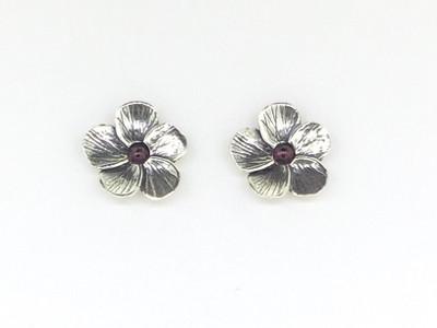 Garnet Flower Stud Earrings