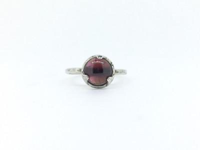 3-Prong Round Garnet Ring