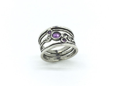 3-Stone Wide Band Amethyst Ring