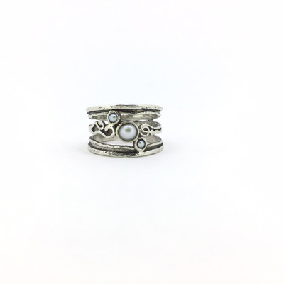 3-Stone Wide Band Pearl Ring