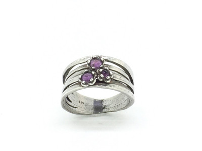 3-Stone Amethyst Wide Ring