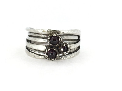 3-Stone Garnet Wide Ring