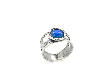 Blue Opal Cut Out Sterling Silver Band Ring