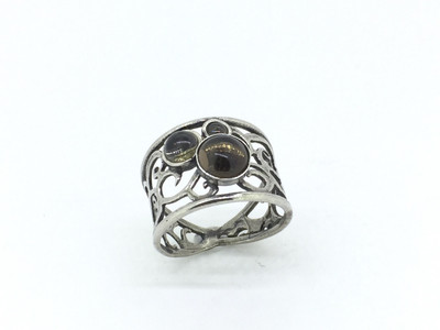 3-Stone Smoky Quartz Sterling Silver Filigree Ring
