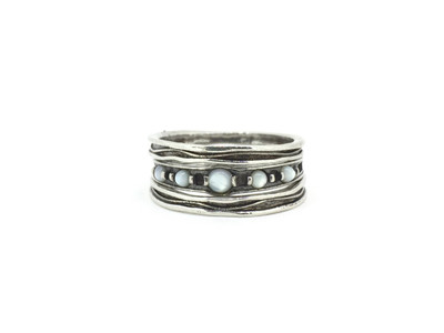 3 Sterling Silver Stackable Rings with Mother of Pearl