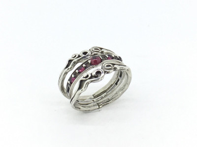 3-Band Sterling Silver Stackable Garnet Ring