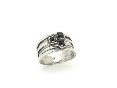3-Stone Onyx Sterling Silver Ring