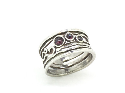 3-Stone Garnet Sterling Silver Band Ring
