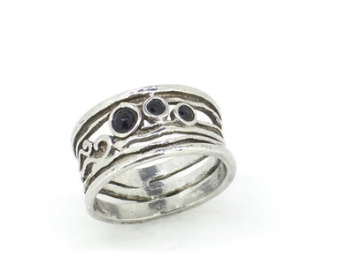 3-Stone Onyx Sterling Silver Band Ring