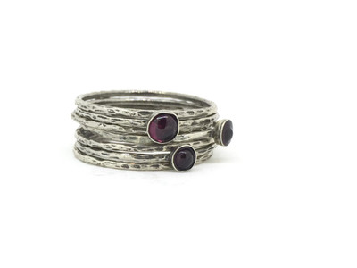7-Band SS Garnet Stackable Ring